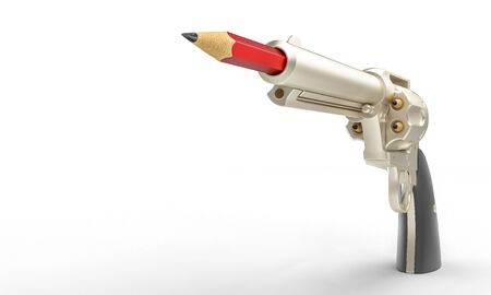 gun with red pencil in the barrel, concept of creativity and quantity of different ideas. 3d render image 스톡 콘텐츠