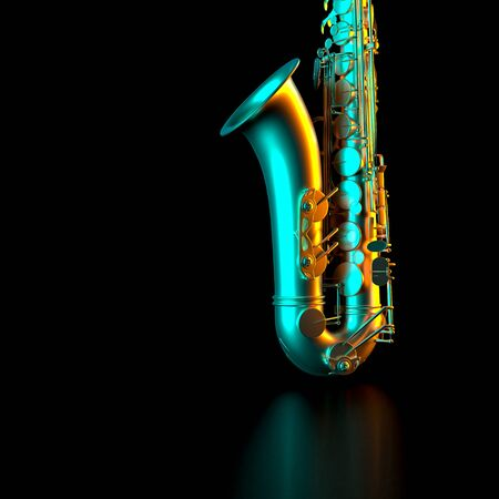 detail of a saxophone on a black background, gold colored and with orange and blue side lights. 3d render. music and entertainment concept.