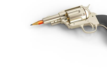 3d render image of a gun with pencils instead of bullets. Concept of artistic creativity. 스톡 콘텐츠