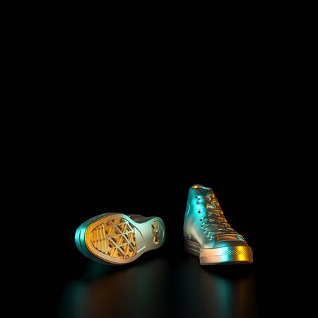 image of gold-colored sneakers on a black background. Concept of exclusivity and fashion. 3d render. 스톡 콘텐츠