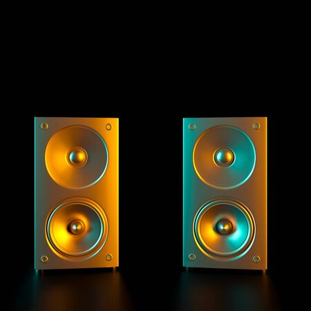 image of two gold-colored speakers. 3d render image. Music and entertainment concept. 스톡 콘텐츠