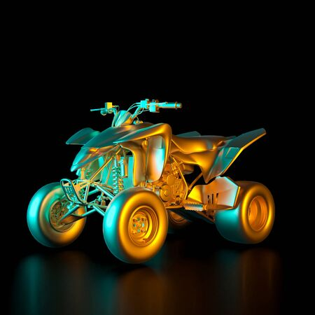 3d render image of a gold colored quad bike on a black background. Transportation, pastime and luxury concept.
