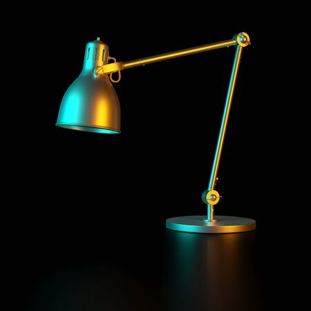 classic office table lamp in gold color and colored lights. Manufacturing and energy industry concept. 3d render image.