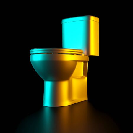 gold toilet bowl on a black background. Concept of luxury and exclusivity. nobody around. 3d render image. 스톡 콘텐츠