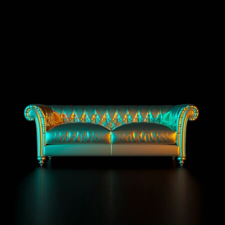 image of a classic style sofa in gold color on a black background. Concept of tradition, style and exclusivity. Furniture manufacturing industry. 3d render.