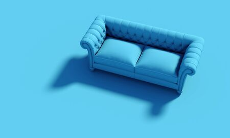 Classic sofa, nobody around. Horizontal image. Concept of design and modern style furniture. 3d render image. Pantone classic blue palette.