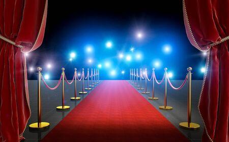 VIP-Eingang mit rotem Teppich und Vorhängen, goldfarbene Absperrungen mit Satinkordel. schwarzer Hintergrund mit Blitz von Paparazzi. Konzept von Exklusivität und Luxus. 3D-Renderbild.