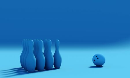 skittles and bowling ball. Sport and recreational hobby concept. 3d render image in flat lay style. Pantone classic blue palette.