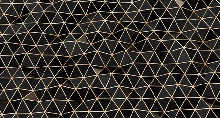 minimalist black triangular mosaic with gold lines. 3d render image. abstract geometric background. 스톡 콘텐츠