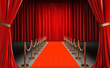 entrance of a cinema with red carpet and barriers with velvet rope, red curtains in the background and entrance. nobody around. celebrity and exclusivity concept. 3d render. 스톡 콘텐츠