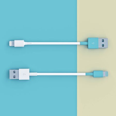 white and blue usb connection cables on a flat lay style bicolor background, square format. nobody around. 3d render. technology and connection concept.