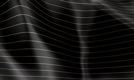 black wave background with horizontal lines in gold color. nobody around. 3d render image. abstract geometric background. 스톡 콘텐츠