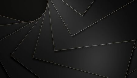 geometric background with polygons with gold edges. 3d render minimal image in dark shades. simple and elegant.