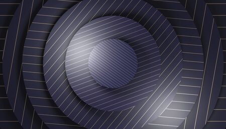 geometric background with concentric circular shapes in dark blue color with gold lines. elegant minimalist. 3d render.