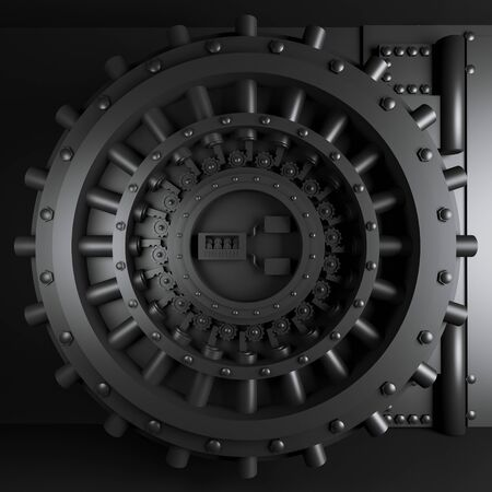 door of a vault in black corole. 3d render. solidity and safety concept. minimalist background. square.