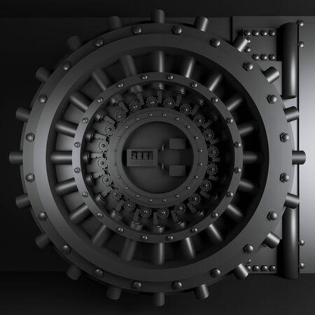 Tür eines Gewölbes in schwarzer Corole. 3D-Rendering. Solidität und Sicherheitskonzept. minimalistischer Hintergrund. Platz.