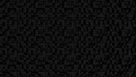 black background of a series of cubes forming a mosaic. dark shades and minimalist geometries. 3d render image. 스톡 콘텐츠