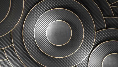 3d render image of a circular geometric background with carbon fiber material with gold edges. nobody around. minimalist and elegant.