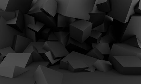 minimalist black background with square geometric shapes and with cubes. nobody around. 3d render image. horizontal format