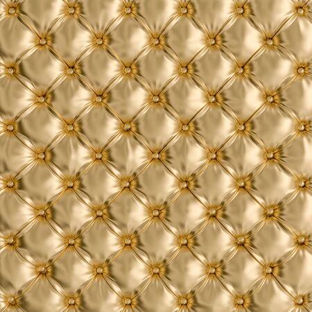 Detail der goldfarbenen Sofabeschaffenheit. 3D-Renderbild. Retro- und klassischer Hintergrund. Konzept von Exklusivität und Luxus.