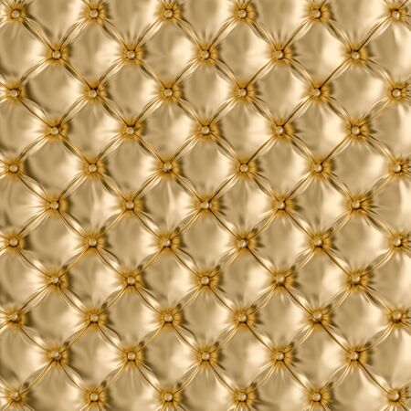 Detalle de la textura del sofá de color dorado. Imagen de render 3d. Fondo retro y clásico. Concepto de exclusividad y lujo.