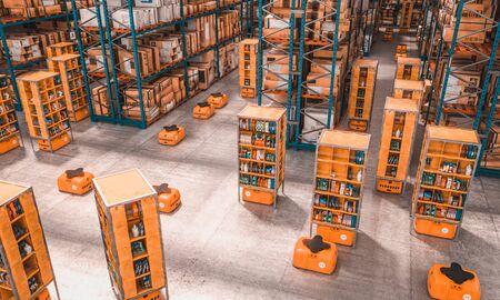 Innenraum einer Fabrik mit Drohnen für den Warentransport, um die Logistik des Unternehmens zu erleichtern und zu beschleunigen. 3D-Renderbild, Konzept der Moderne und Technologie.