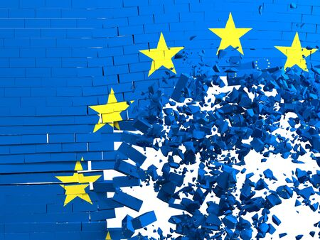 brick wall with the European flag that is destroyed and forms a hole and an explosion of fragments. concept of bankruptcy of the european union. 3d render. Stockfoto