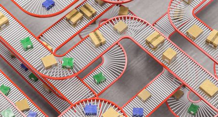 detail of a network of conveyor rollers with parcels inside a warehouse for sorting. 3d render.