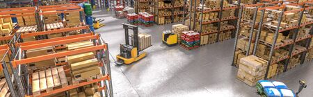 interior of a warehouse with shelves and goods, lifting machinery in action. 3d render. industry and logistics concept. horizontal format.