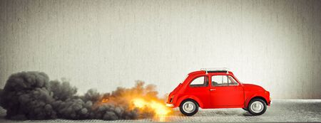 small compact vintage Italian car starts quickly making flames and smoke. 3d render. concept of starting, success, haste and aspiration.