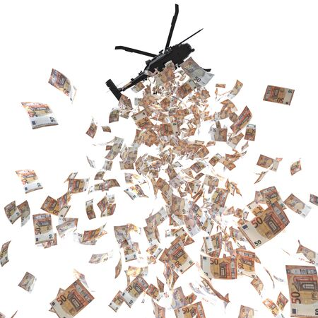 helicopter distributes money euro cash. bottom view isolated on white. 3d render. helicopter money concept, financial crisis. 스톡 콘텐츠