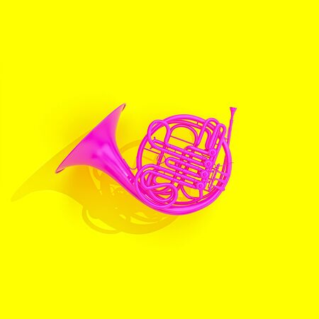 Fuchsia French horn on yellow background in flat lay style. nobody around 3d render. music concept.