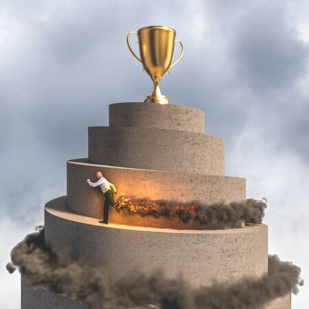 businessman runs to reach the top of the tower where there is a large golden trophy. flames and smoke. concept of determination, victory, leadership and creativity.