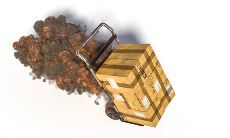 handtruck with different parcels with flames and smoke. Fast and expedited shipping concept. 3d render. White background. Stockfoto