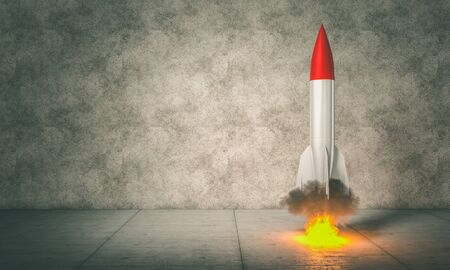 3d render image of a rocket about to take off. flames and smoke. concept of beginning, determination, power.