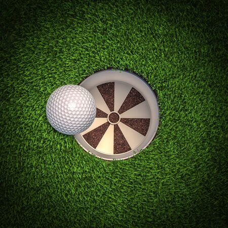 detail of a golf ball falling into the hole. 3d render