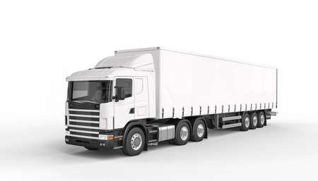 tarpaulin truck white color 3d render. nobody around. copyspace