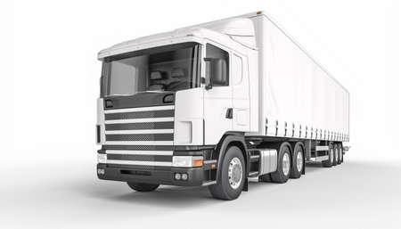 big white tarpaulin truck. nobody around. transport and logistics concept. 3d render.