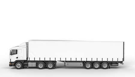 white tarpaulin truck side view. 3d render. nobody around. copyspace