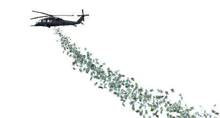 helicopter distributing money. isolated on white. concept of helicopter money and direct financial help. 3d render.