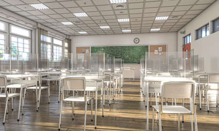 interior of a school with desks equipped with protective plexiglass screens to allow social distancing to prevent covid 19 infection. 3d render.