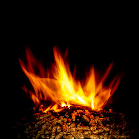 wood pellets burning with flames on black. Ecological and natural fuel.