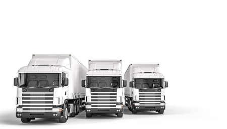 white cargo trucks on the white background. 3d render. Imagens