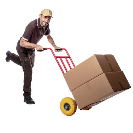 delivery man with handtruck isolated on white background