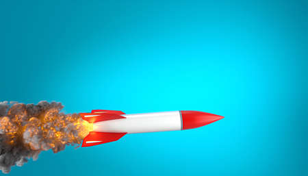 rocket with flames and smoke on a blue background. 3d render.