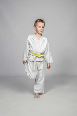 seven year old caucasian child practicing martial arts. studio shot. 版權商用圖片