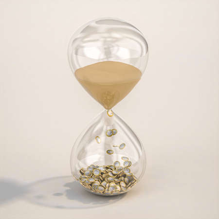 hourglass with sand and euro coins, time and money concept. 3d render.