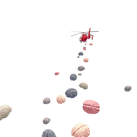 flying helicopter deploys brains. 3d render. nobody around.