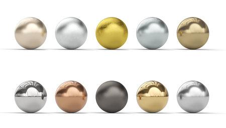 different metallic spheres, gold, copper, steel, iron, bronze. 3d render. nobody around.