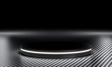 carbon fiber podium with lights. 3d render. Stockfoto - 168121202
